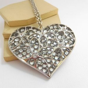 Jewelry - Huge Silver Faux Crystal Heart Pendant Necklace